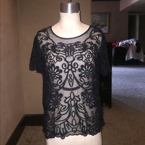 Tops - Sheer mesh black lace top
